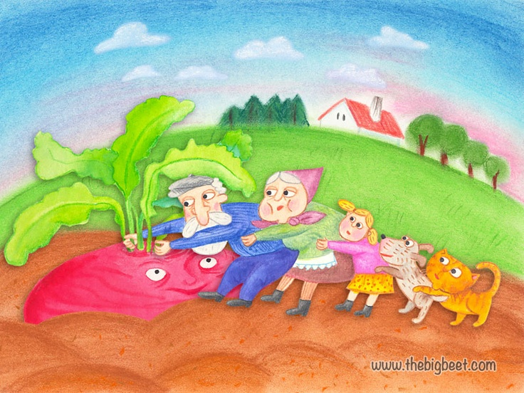 (11/14) The cat grabbed the dog, and the dog grabbed the granddaughter, and she grabbed grandma, and grandma grabbed grandpa, and grandpa grabbed the beet, and they pulled and pulled, but they still couldn't pull the beet out of the ground. What now? There was no one else to help them.