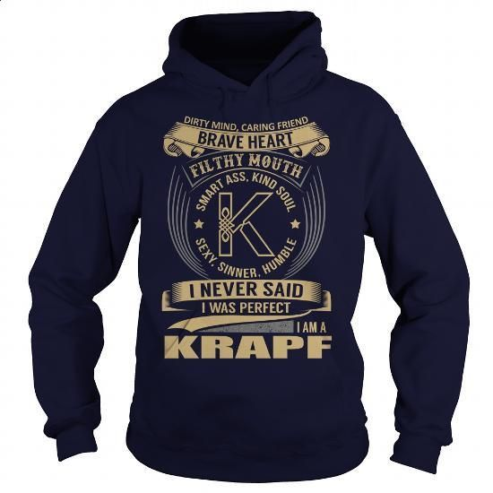 KRAPF Last Name, Surname Tshirt - #appreciation gift #sister gift. MORE INFO => https://www.sunfrog.com/Automotive/KRAPF-Last-Name-Surname-Tshirt-125747985-Navy-Blue-Hoodie.html?60505