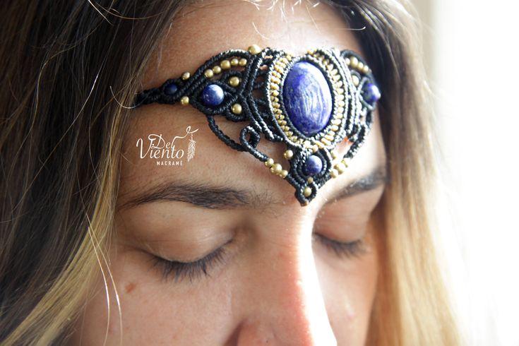Macrame headband or necklace with Lapis stone / Bohemian jewelry de DelVientoMacrame en Etsy