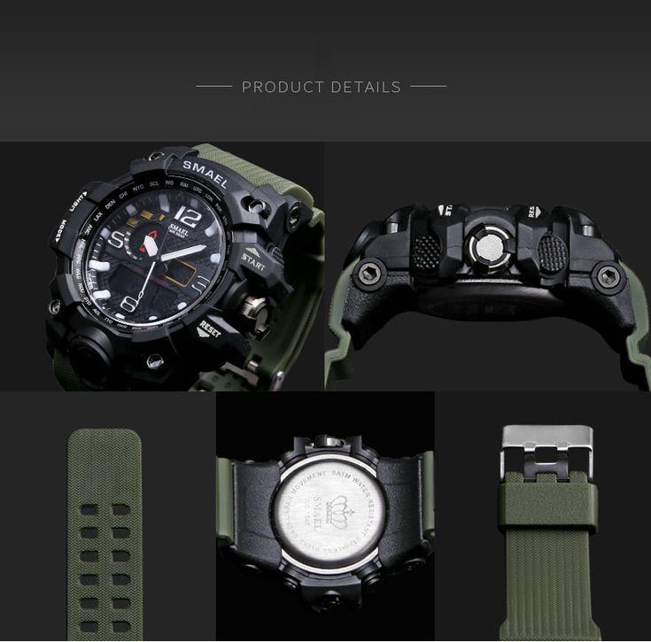 SMAEL 1545 Pure Color Band Waterproof Sport Watch Digital Analog Dual Display Japan Quartz Watch