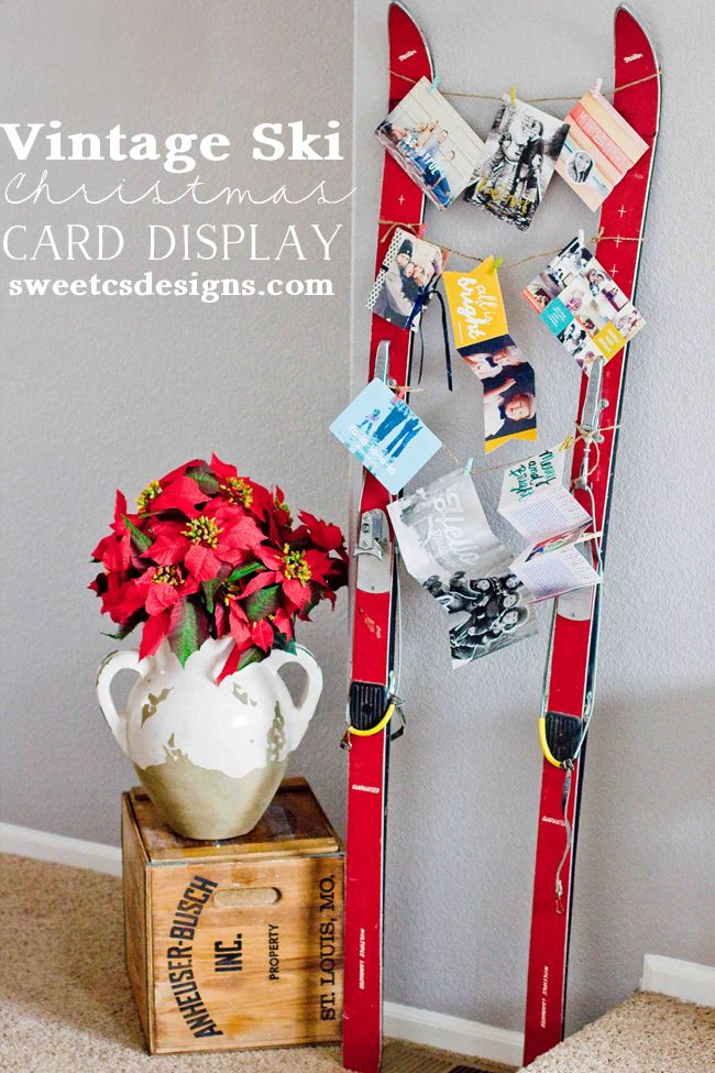 Vintage Ski Christmas Card Display- such a fun and unique way to