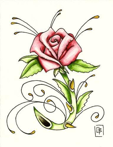 Rosa,flash tattoo acuarela (13,5X17,5cm)