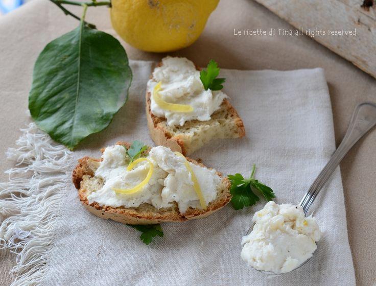 Crema di baccalà per bruschette,buona e saporita!!Baccalà mantecato profumato al limone,un idea da servire per antipasto