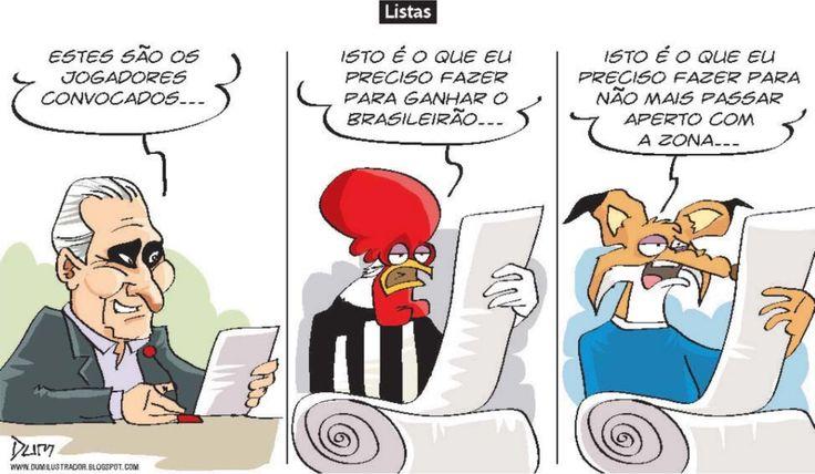 Charge do Dum (Zona do Agrião) sobre listas (23/10/2016) #Charge #Galo #Cruzeiro #Atlético #Tite #SeleçãoBrasileira #Brasileirão #CampeonatoBrasileiro #CopaDoBrasil #HojeEmDia