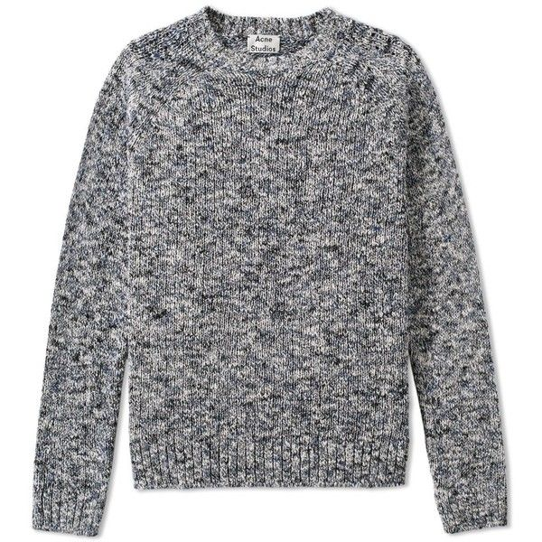 Acne Studios Konstantin Marl Crew Knit (53915 RSD) ❤ liked on Polyvore featuring men's fashion, men's clothing and men's sweaters