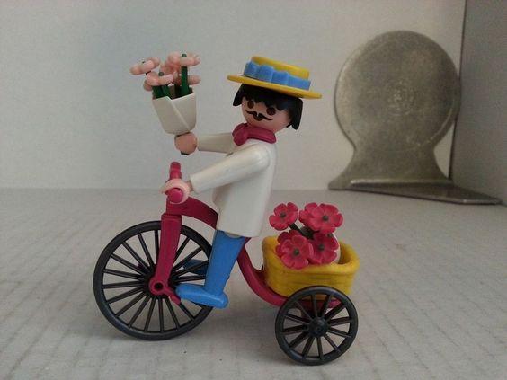 Vintage Playmobil Victorian Mansion Flower Peddler Set 5400, Trike Bike 1974: