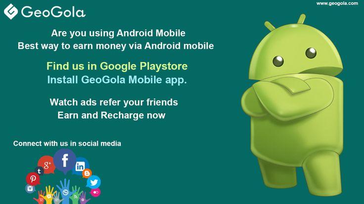 #Geogola #Mobileapp Watch #ads , #Refer ur Friends  #earn #money & #Recharge now http://lnk.al/1wzA