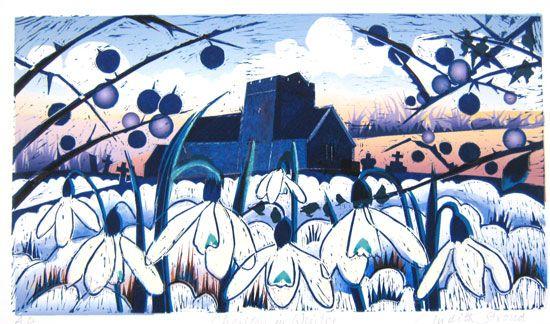 Cheriton in Winter, linocut, edition of 45, 6 x 10.5, £90 Judith Stroud