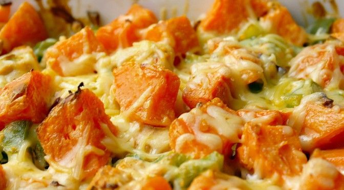 Ovenschotel met kip en zoete aardappel