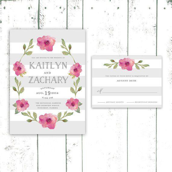 Modern stripe and floral wedding invitation - http://themerrybride.org/2015/06/20/wedding-invitations-on-etsy-com-2/
