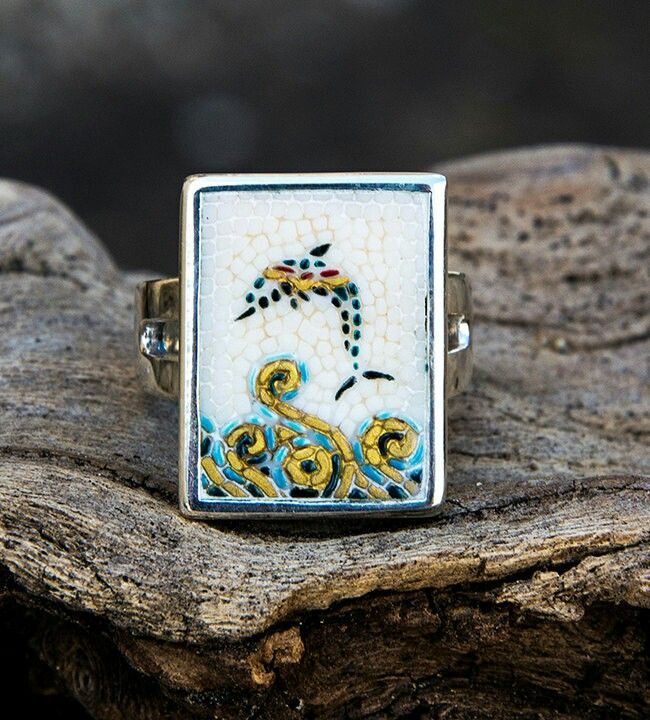 Excited to share the latest addition to my #etsy shop: Mosaic ring with Santorini Dolphin #jewelry #ring #white #silver #mosaic #porcelain #enamel #dolphin #greece#Santorini#Greekislands http://etsy.me/2CJ8JzO