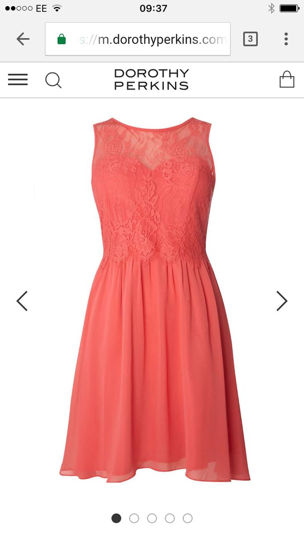 Bridesmaid coral dress Dorethy Perkins