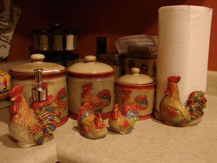 133 Best Images About Rooster Canisters On Pinterest Set Of French Country Kitchens And Tins
