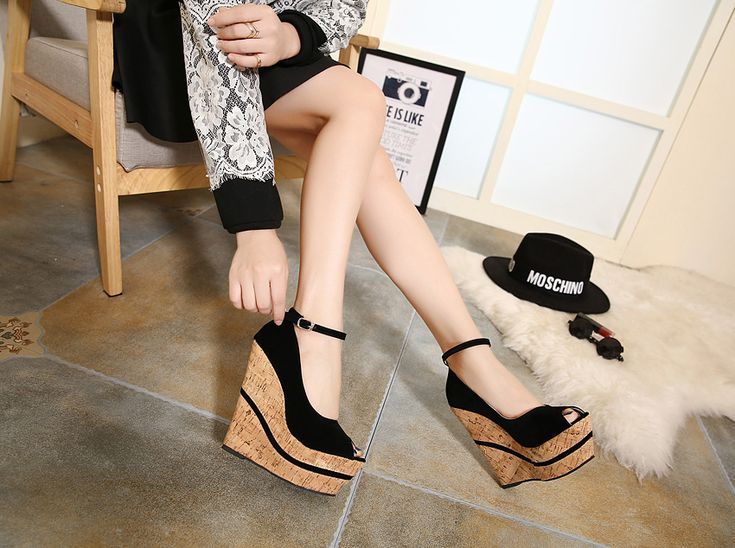 High quality 2016 new arrival women love summer cheap ankle-strapy wedges peep toe platform punk sandals for woman fish mouth wedding high-heed nude pumps Valentine's party evening sandalias zapatos de mujer 139-28