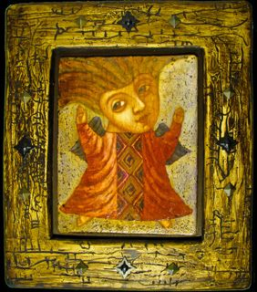 Картина Радость, Готический наив, Павел Николаев, Деревянные картины, Картины наив, Готический наив