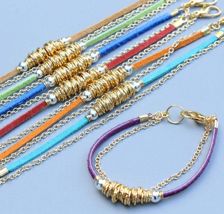 BOHO SUEDE Chain Bracelet - Purple / Gold Chain and Links Bracelet - Pick your WRIST Size  - Lobster Clasp - Instant Ship - Ref 230. $14.50, via Etsy.