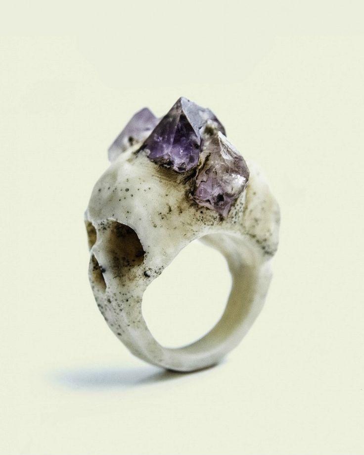 amethyst bi-facial ring. macabre gadgets. $188