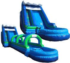We have many inflatable water slides to fit any size yard.  www.flosinflatables.com
