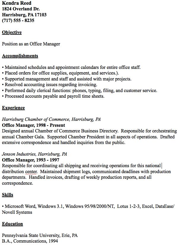 Example Of Office Manager Resume -    resumesdesign - resume office manager