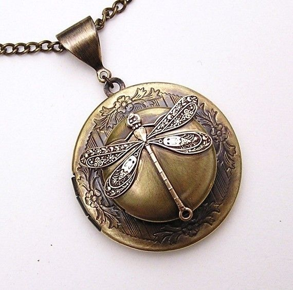Steampunk double DRAGONFLY LOCKET Necklace Pendant by chinookhugs, $69.99
