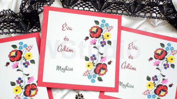 Kalocsai mintás esküvői meghívó