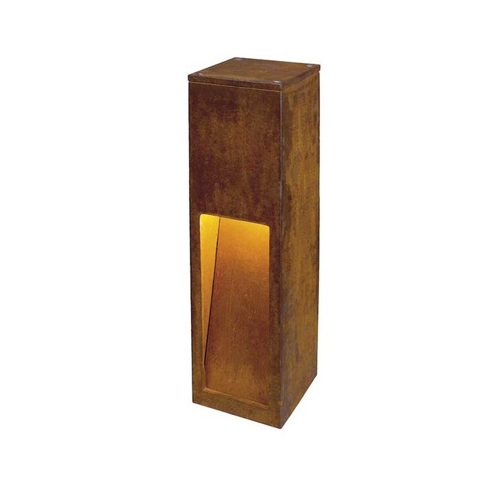 Rusty Slot Exterior Bollard is made of steel available in a Rusty Iron finish. Available in two heights. Requires one 9 watt (11 watt max) 120 volt T2 Coil medium base compact fluorescent lamp, not included. Includes screws. Small: 4.7 inch width x 19.7 inch height x 4.7 inch depth. Large: 4.7 inch width x 31.5 inch height x 4.7 inch depth. Individual deviations in form and surface are intended with the Rusty collection. ETL listed for wet locations. Earth spike accessory available, sold…