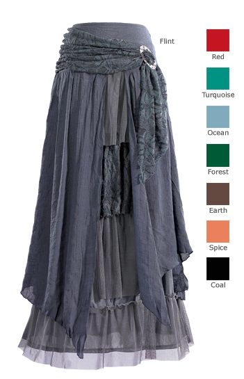 """Linen/Polyester Layered Skirt with Brooch.  8 Different colors.  This layered skirt is a little bit princess and a whole lot of wicked sister. Linen/polyester, hand wash. 36"""" long. Sizes S-XL. Imported. Also available in Romantic Red, Dark Mystic Turquoise, Ocean Blue, Forest Green, Earth Brown, Spice Orange and Coal Black."""
