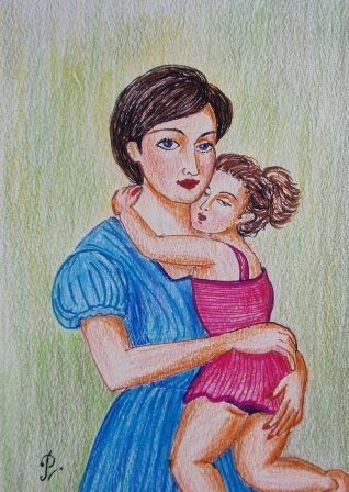 Mother and daughter- colour-pencil sketch by me (With ...