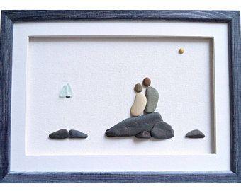 Piedras de arte regalo para pareja, compromiso, boda, nueva familia, aniversario, decoración temática náutica, nuevo regalo de inauguración de la casa hogar, arte de pared enmarcada