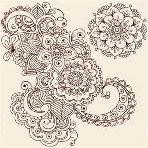 Flowers And Mandala Mehndi Henna Tattoo Paisley Doodle Illustration