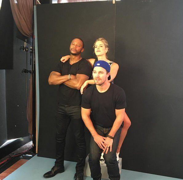 #Arrow SDCC2016  David Ramsley(John),Emily Bett Rickards(Felicity) & Stephen Amell(Oliver)