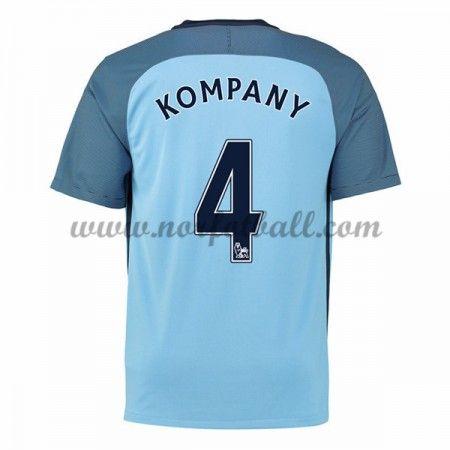 Billige Fotballdrakter Manchester City 2016-17 Kompany 4 Hjemme Draktsett Kortermet