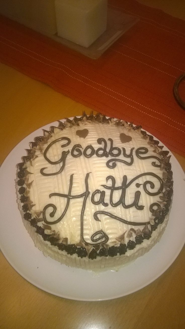 Simple chocolate and vanilla goodbye cake for a work colleague