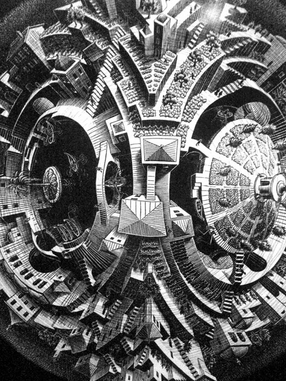 Mind pending Clack&White print by MC Escher