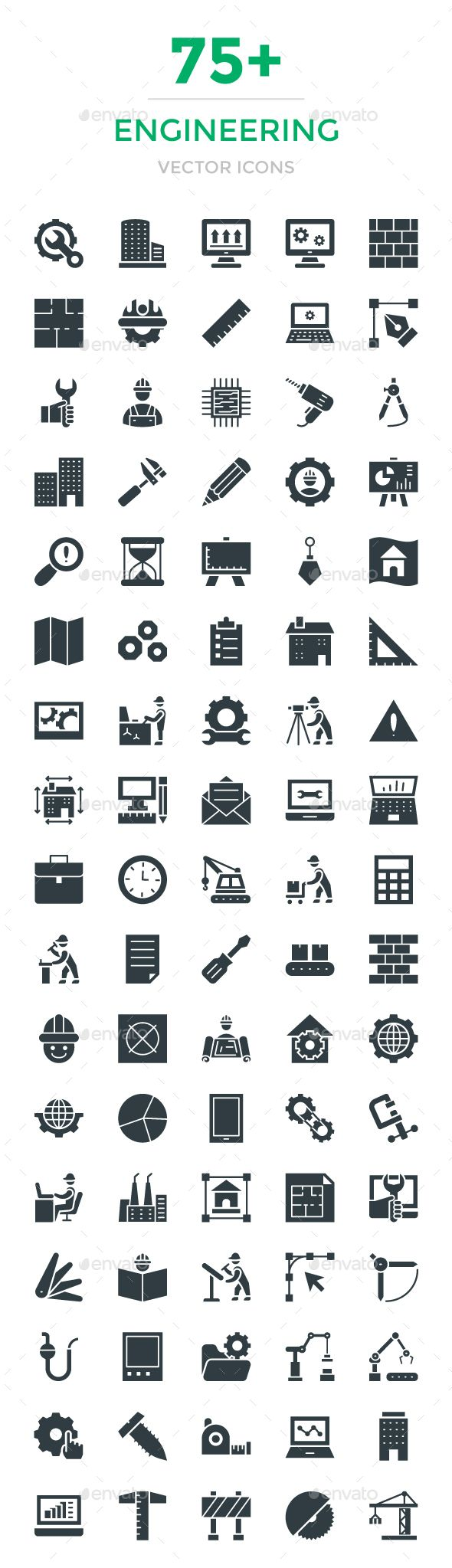 75+ Engineering Vector Icons. Download here: https://graphicriver.net/item/75-engineering-vector-icons/16916642?ref=ksioks