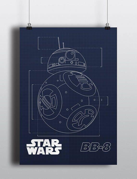 Star Wars Poster Print - BB-8 Blueprint | Digital Art | Kids Room Art | Digital Download | Disney | Droid | The Force Awakens | 2 Set