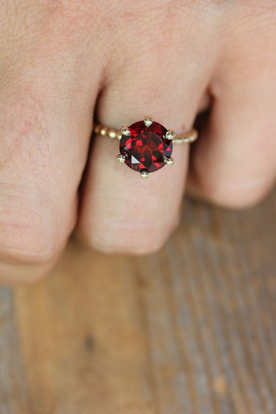 Crimson Red Garnet RIng and Recycled Gold Ring by onegarnetgirl