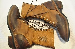 Vintage Two Tone Leather Chippewa Logger Boots Men's Size 8 D