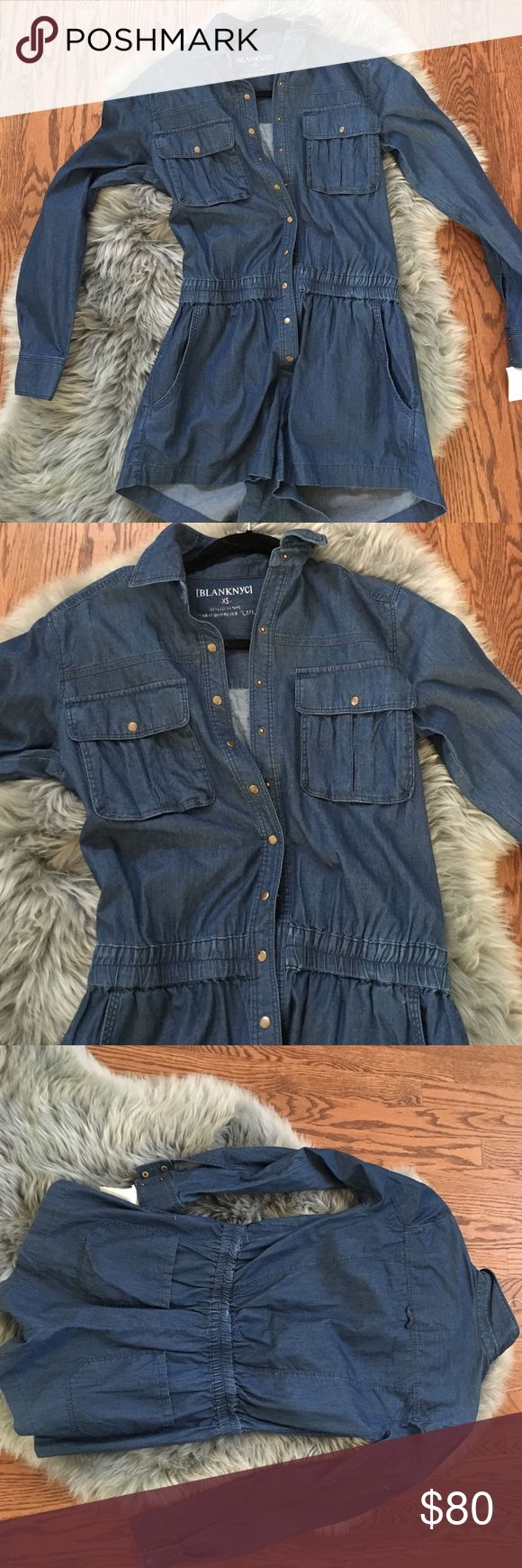 Blank denim romper Blank denim button romper Blank NYC Pants Jumpsuits & Rompers