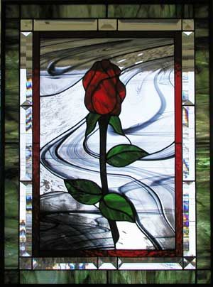 Lovely single rose in stained glass...