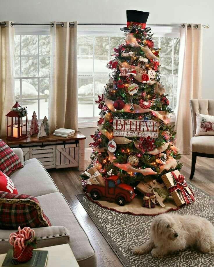 Christmas Tree Idea red truck burlap
