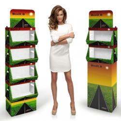 BoxO  Espositore modulare in cartone microtriplo rivestito, si adatta particolarmente a prodotti sfusi o in sacchetti. Disponibile in due dimensioni e configurabile a piacere da 2 a 4 cassetti, può essere stampato interamente o solo nella parte superiore.