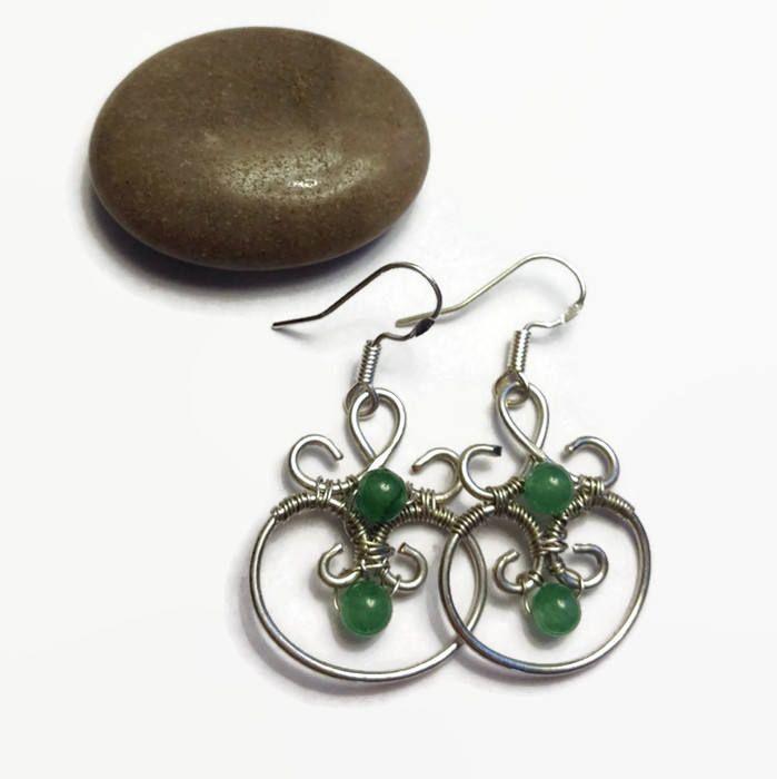 Wire Wrap Earrings/ Wire Earrings with Aventurine Beads/ Handmade Earrings/ Dangle Earrings/ Wire Earrings/ Wire Wrap Jewelry/Green Earrings by ShiningCrystals on Etsy