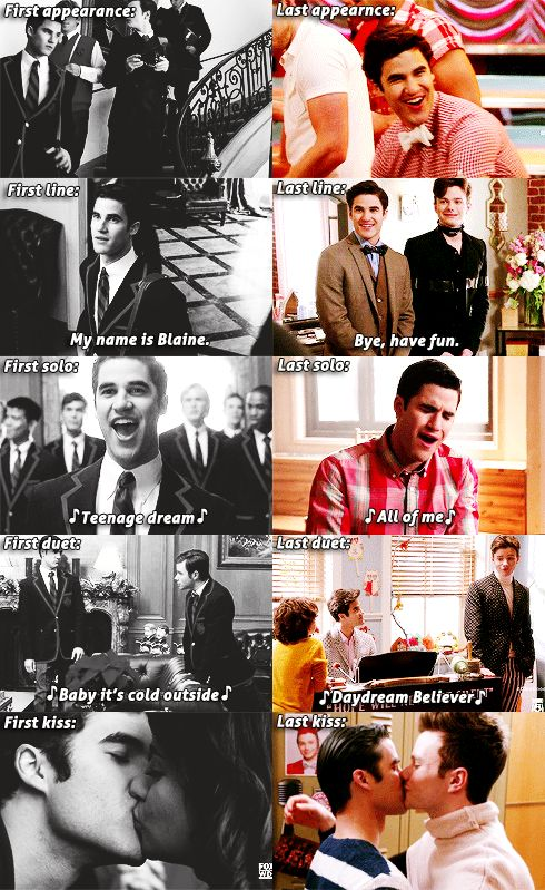 First line: my name is Blaine. Wow lol. His first line. I love how his first and last duet was with Kurt. It's sad that he didn't get any solos in Season 6 though.