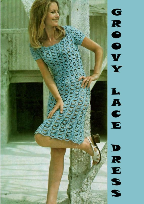 Vintage Womens Ladies Lacy Dress Crochet Pattern 1970s 1920s