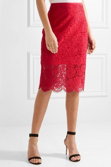 Diane von Furstenberg - Glimmer Corded Lace Pencil Skirt - Red - US14