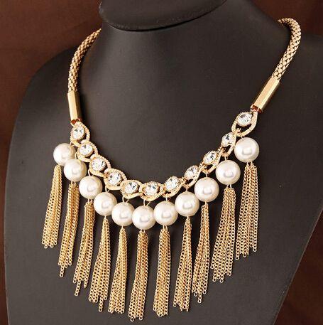 Аксессуары женщины позолота кисточка цепь ожерелье ожерелье чокеры жемчуг винтажный ювелирные изделия ожерелья и подвески