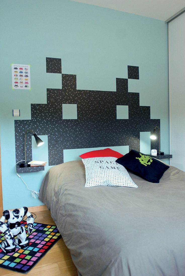 cr er une t te de lit pour ado en papier peint diy. Black Bedroom Furniture Sets. Home Design Ideas