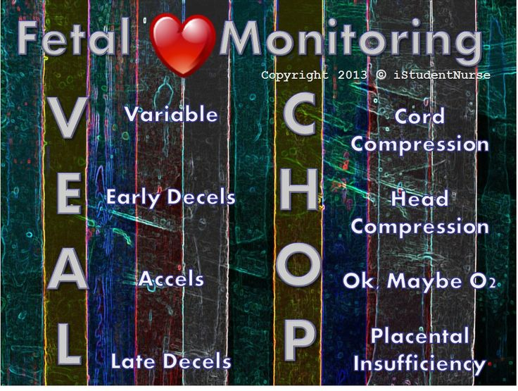 VEAL CHOP Acronym for Electronic Fetal Heart Monitoring Interpretation. Learn this to remember variable decels, early accels, & late decels along with the possible causes for each. These are crucial to learn for OB class tests & are NCLEX MUST-KNOWS! @iStudentNurse #NurseHacks