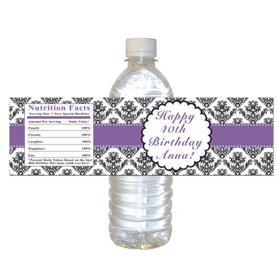 Printable Personalized Purple Damask Birthday Water Bottle Labels Wrappers - Vintage Party Decorations Custom Birthday Party Favors
